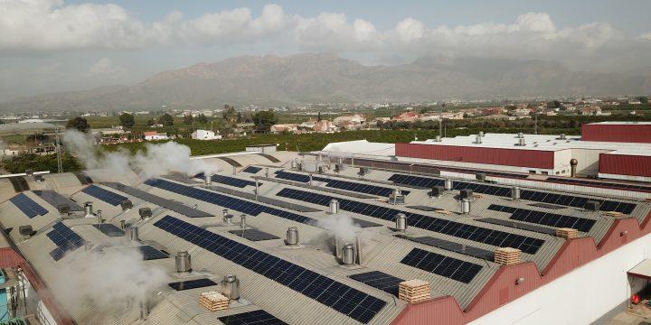 Instalación fotovoltaica de autoconsumo de 325,09 kWp en industria de conservas, El Raal, Murcia.